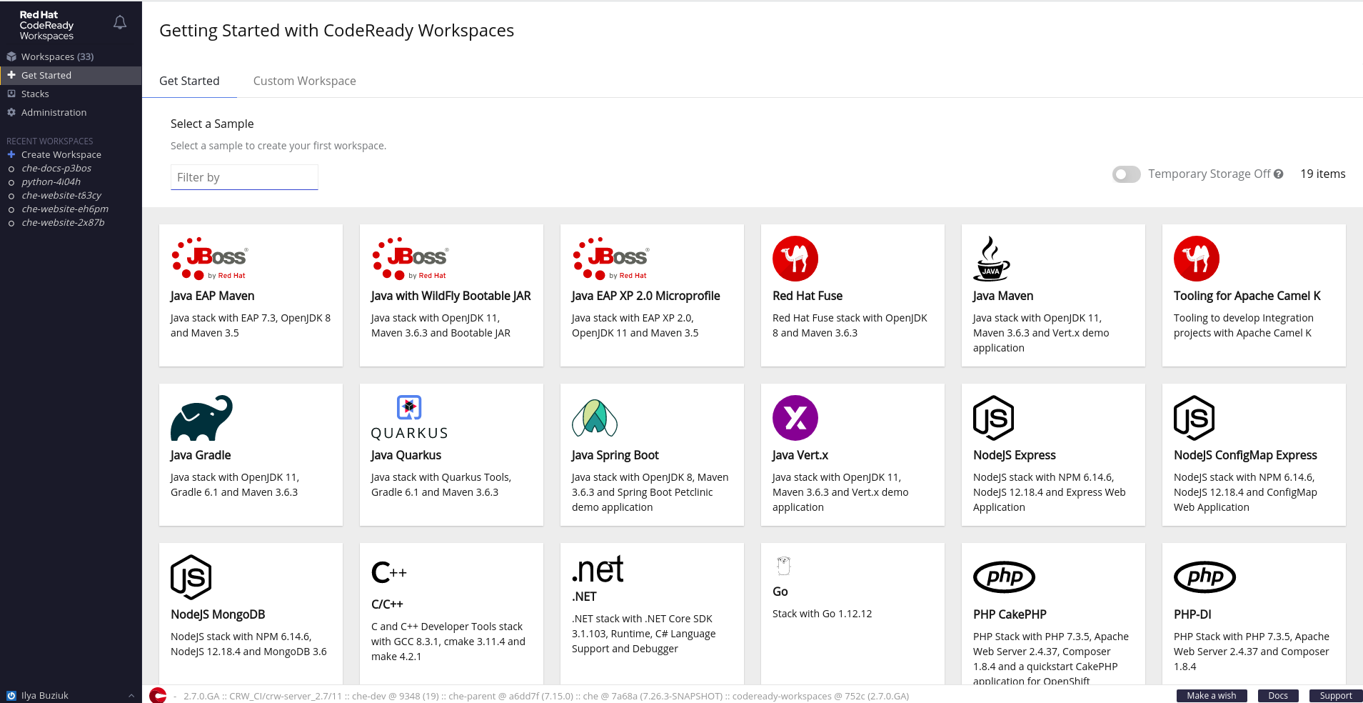 User Dashboard: Getting Started with CodeReady workspaces
